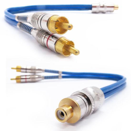 Imagem de CBY2M1FT1 - Cabo Y RCA Prime Plug Metal Azul 5mm 1 Femea e 2 Machos Svart Techone