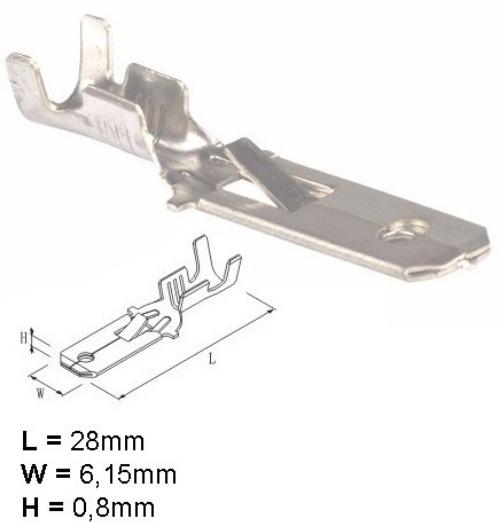 Imagem de ET801-8057 - Terminal Lâmina 6,3 Fio 0,50 a 2,5mm c/trava (espadão) Estanhado