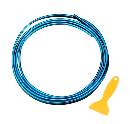 Imagem de FD5M-AZ -  Fita Friso Decorativo 5 Metros Azul Metalizado c/ Espátula de Aplicação